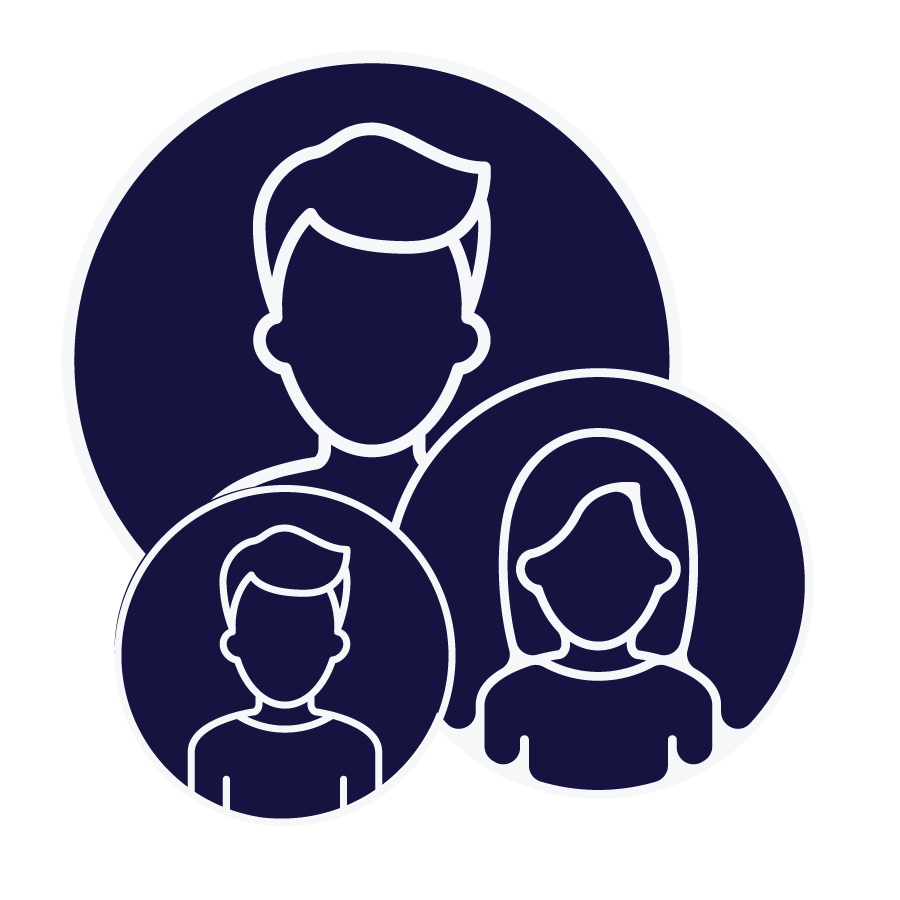 Outline of three people with a dark blue background.